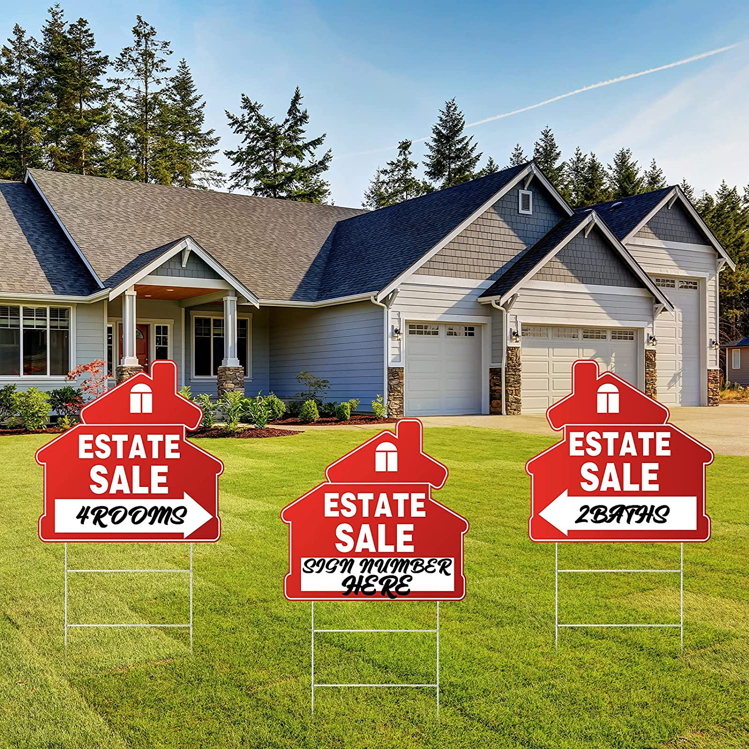 3 Pieces Estate Sale Signs Set Red Yard Sale Signs with Arrow Double Sided Estate Property Sale Signs with H Wire Stakes for Estate Sale Supplies, 13 x 13.4 Inch