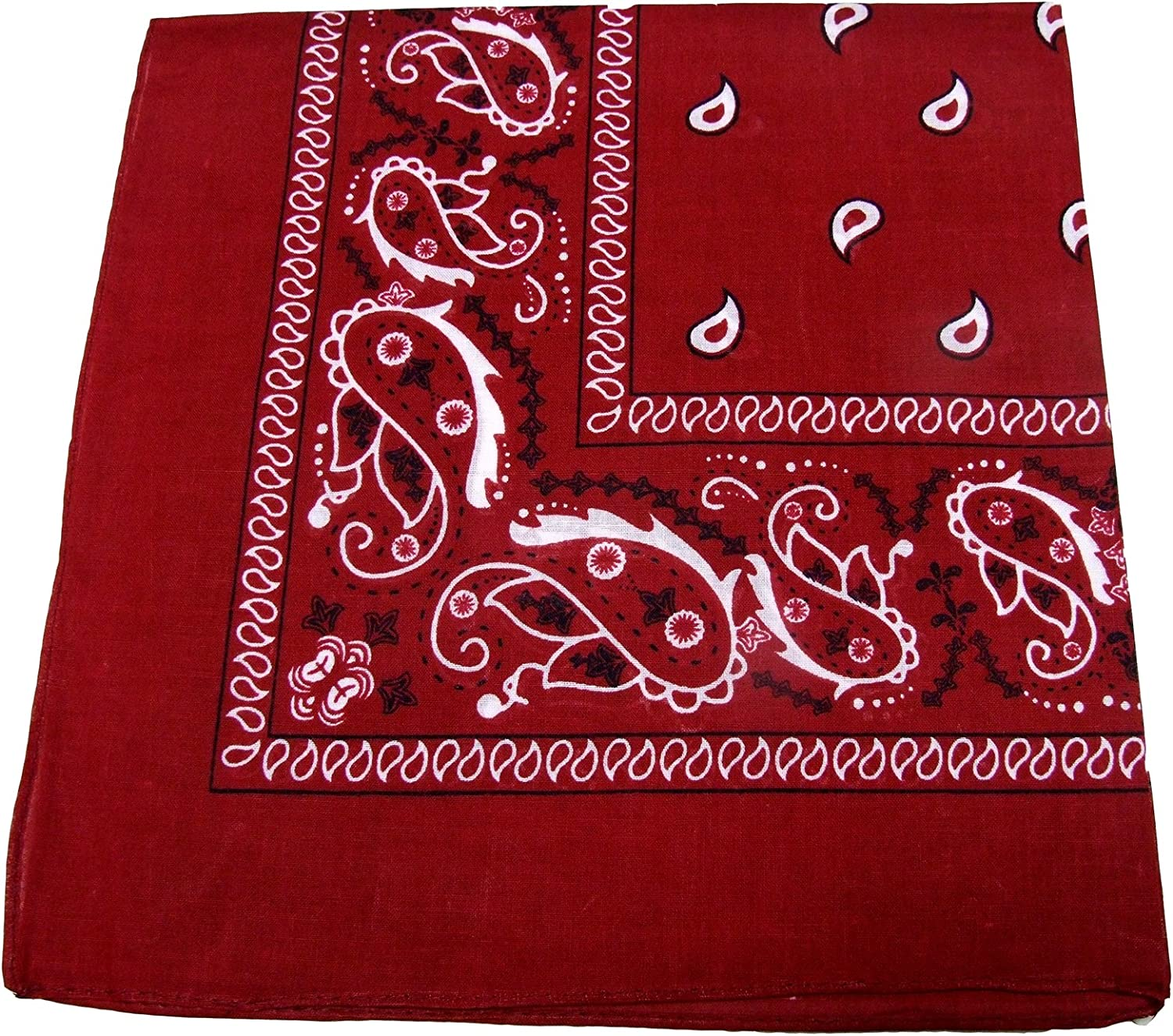 Pack of 12 Cotton Double Sided Print Paisley Bandana Scarf,22x22 Head Wrap