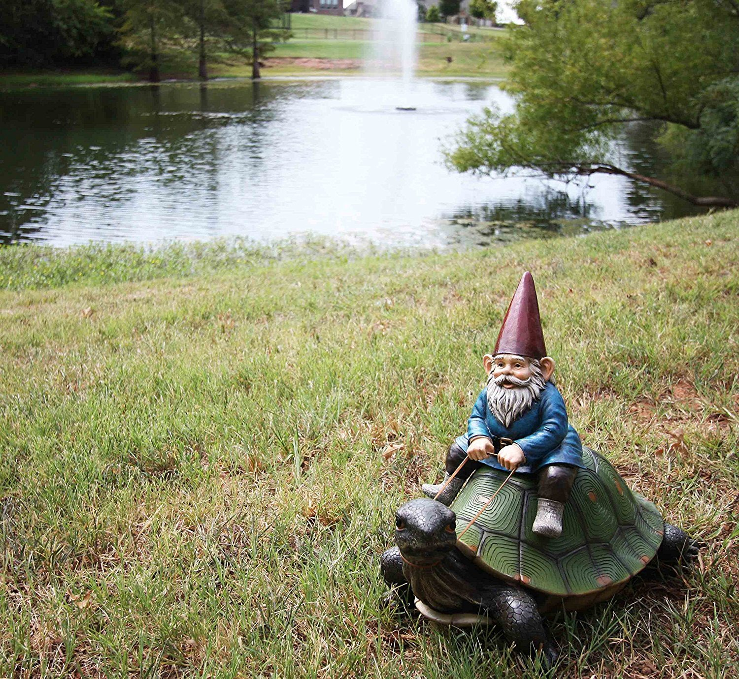Ebros Large 17.25'' Long Whimsical Travelling Mr Gnome On Giant Turtle Ride Decorative Statue