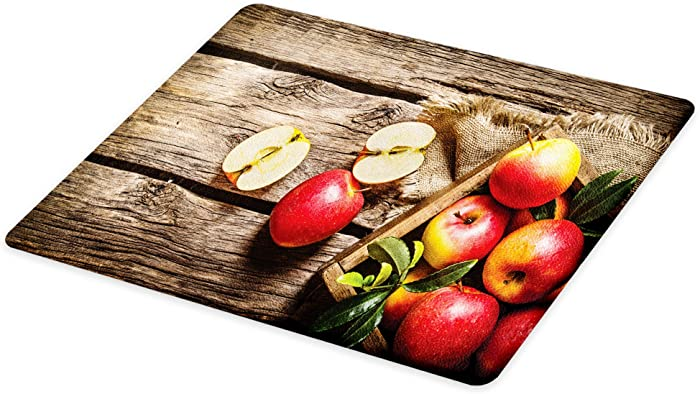 Lunarable Fruits Cutting Board, Box of Apples in on Wood Floor Penal Rusty Organic Nutrition Vitamin Harvesting, Decorative Tempered Glass Cutting and Serving Board, Large Size, Brown Red