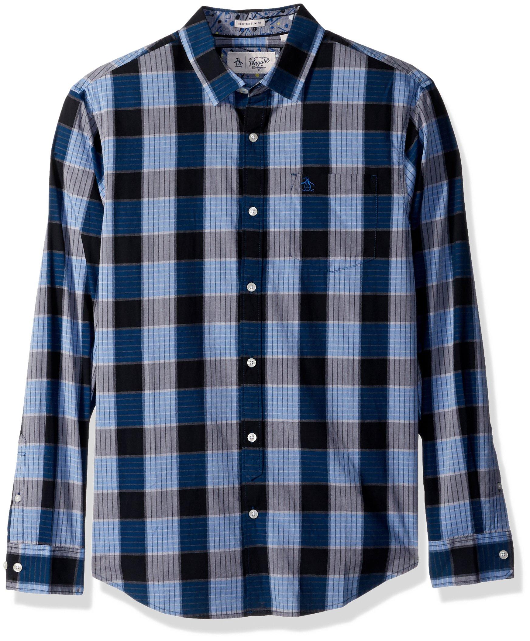 Original Penguin Men's P55 Plaid Dress Shirt, Snorkel Blue, Large