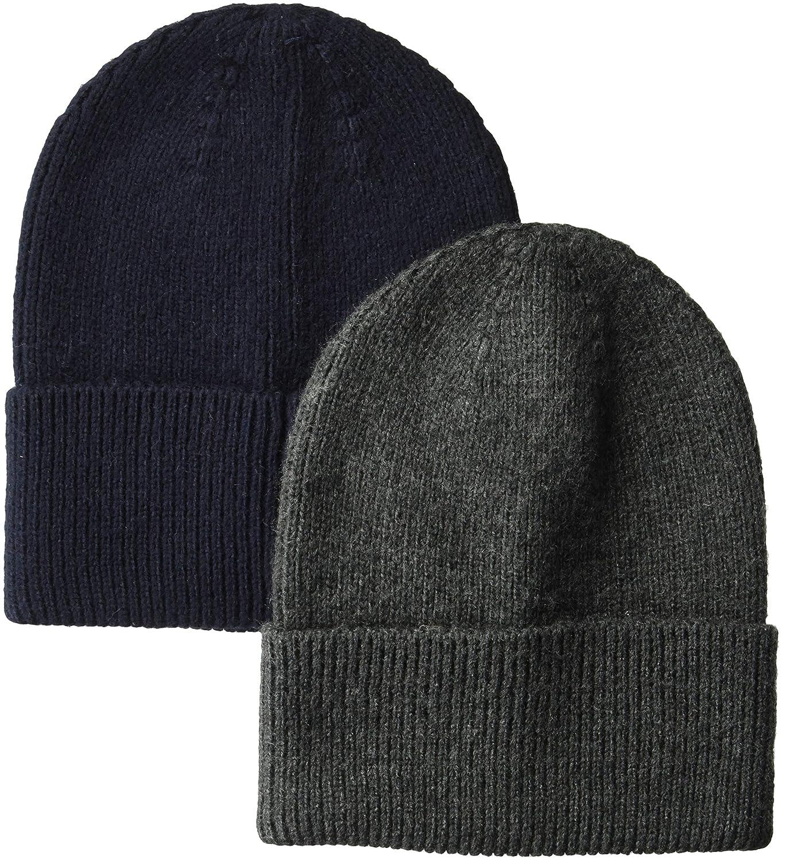 28885d4dda7412 Amazon.com: Amazon Essentials Men's 2-Pack Knit Beanie Hat Black, One Size:  Clothing