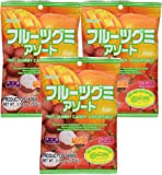 Kasugai Fruit Assort Gummy Candy 3.59oz (3 Pack)
