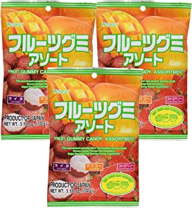 Kasugai Fruit Assort Gummy Candy 3.59oz (3 Pack)