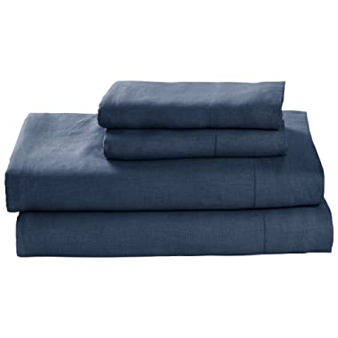 Stone & Beam Belgian Flax Linen Bed Sheet Set, Breathable and Durable, Queen, Aruba