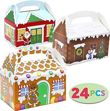 Amazon.com: 24 Piezas 3D Navidad Casa de cartón cajas de ...