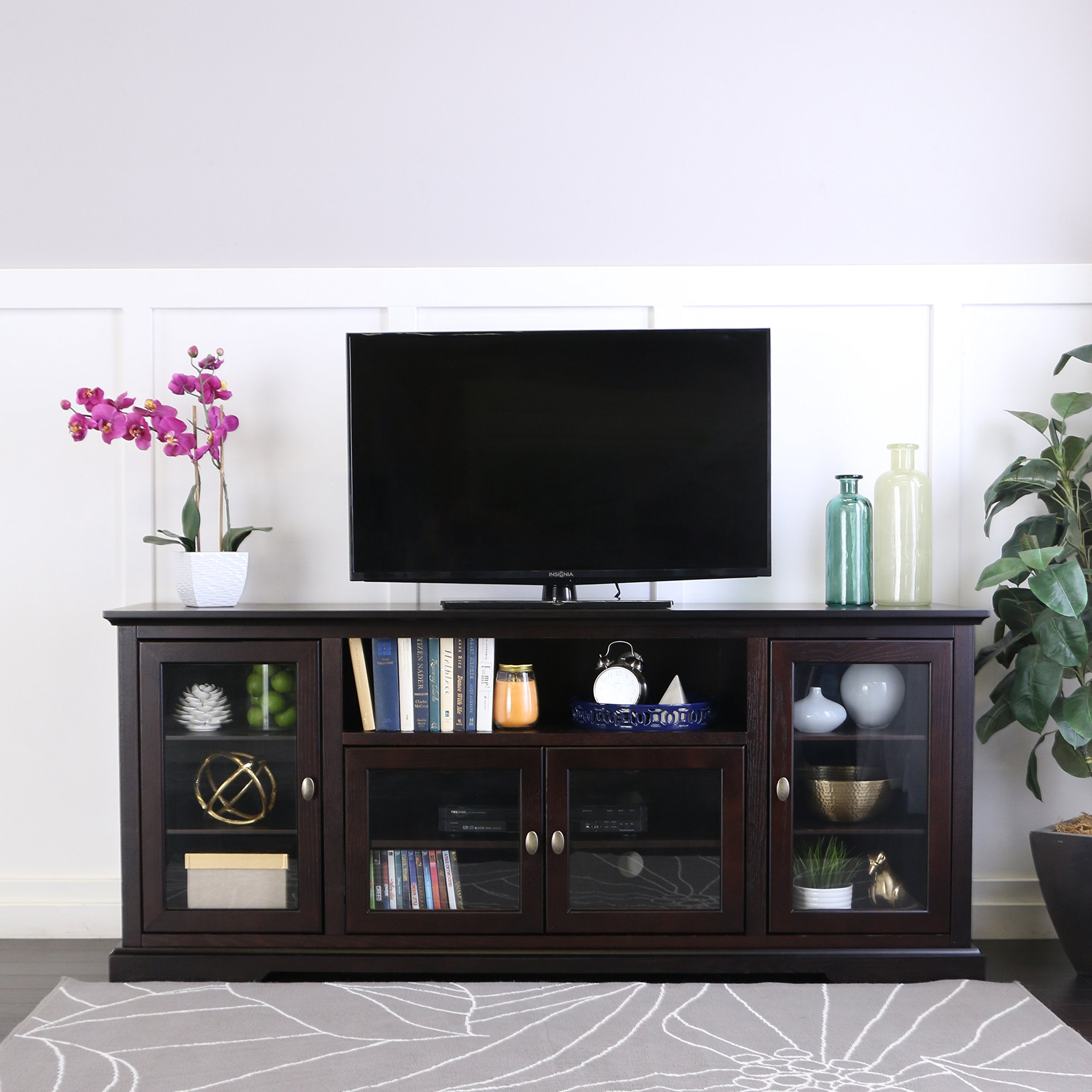 WE Furniture 70'' Highboy Style Wood TV Stand Console, Espresso by WE Furniture