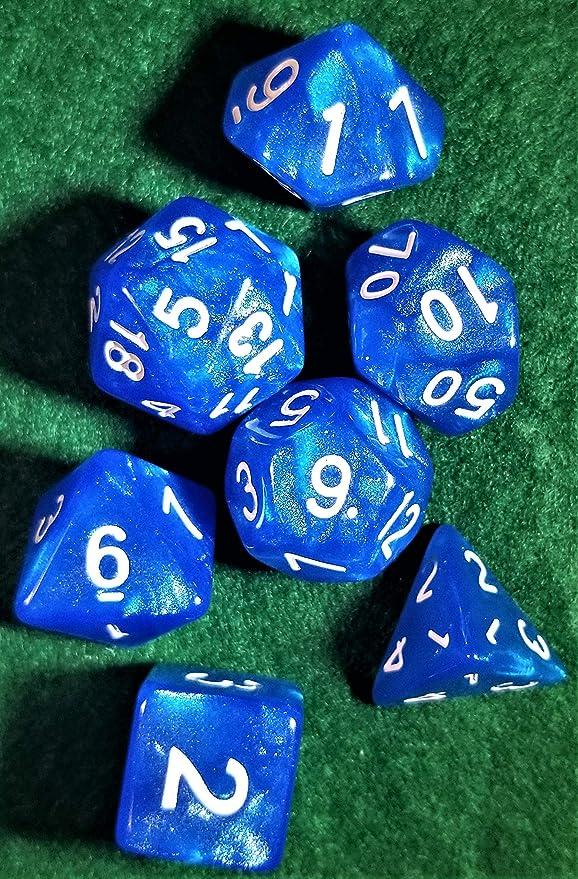 Indie Game Hall - Juego de Dados de 7 Piezas con Purpurina Azul RPG D & D Pathfinder: Amazon.es: Juguetes y juegos