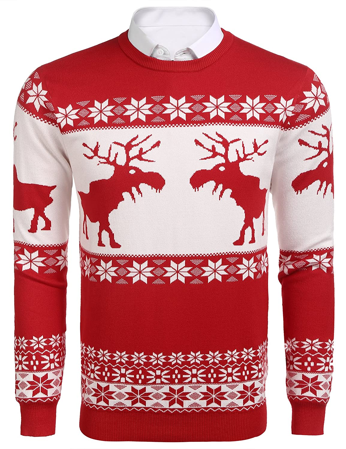 COOFANDY Mens Cotton Christmas Pullover Sweater Long Sleeves Regular Fit