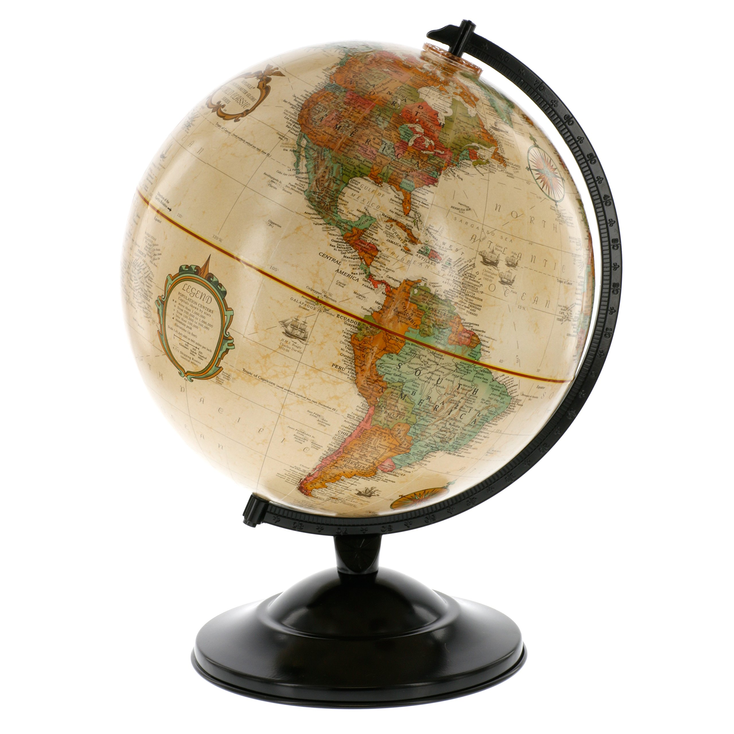 Globe With Antique Shading - Raised Relief Topographical Political Globe - 2017 Country Lines (12'' Diameter)