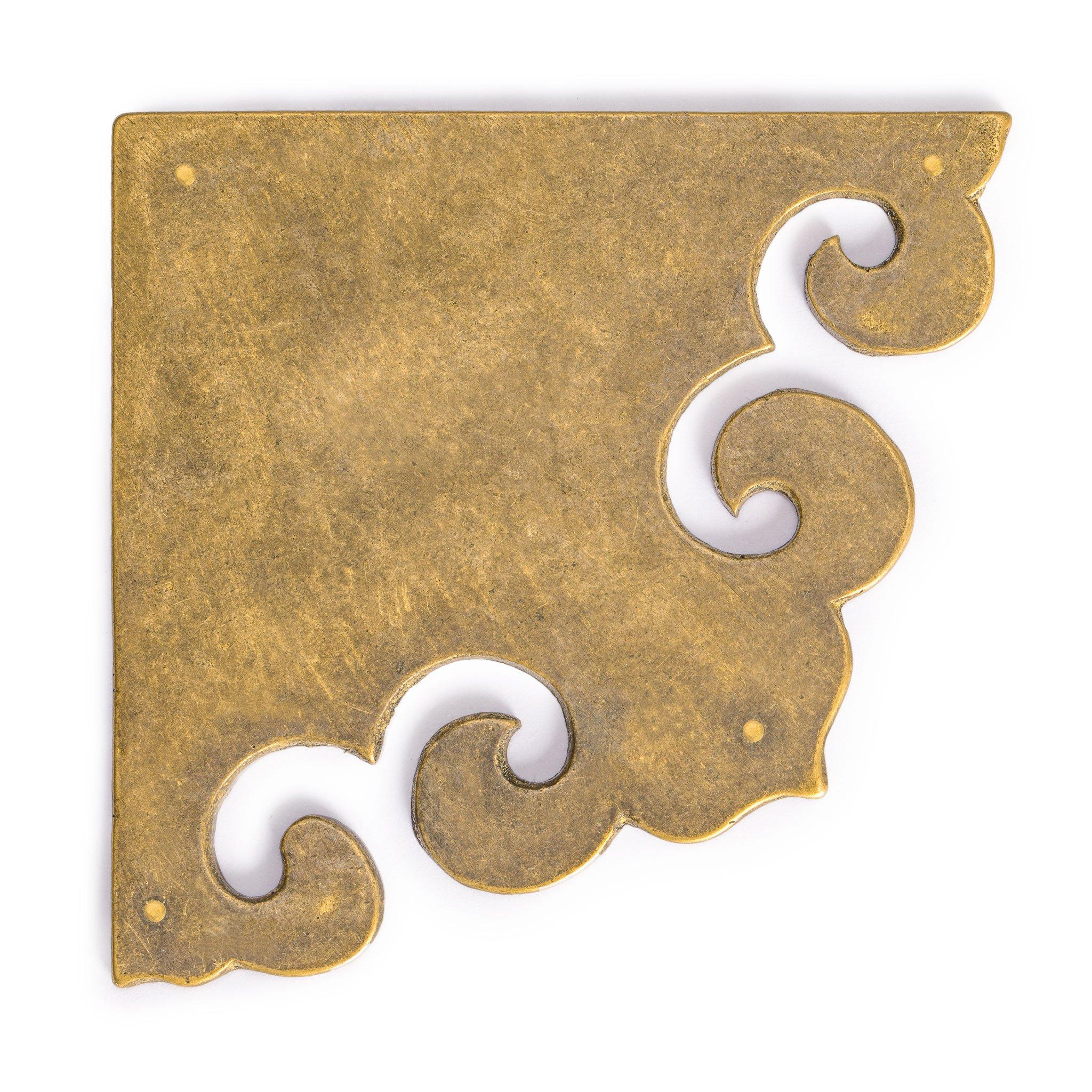 Curled Box Corner Plate 3.3'' - Set of 2