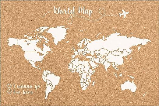 Decowood - Mapa Mundi de Corcho, Grande, para Marcar Tus ...