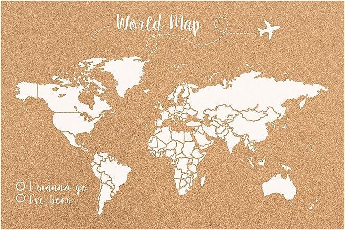 Decowood - Mapa Mundi de Corcho, Grande, para Marcar Tus Viajes por el Mundo y Colgar en la Pared, Blanco - 90x60cm: Amazon.es: Hogar