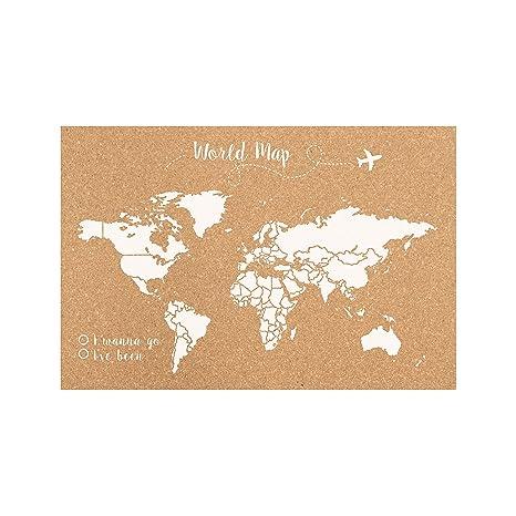 Decowood 090101-S001-01 Mapa Mundi de Corcho para Pared Grande con Pins, Blanco, 90x60