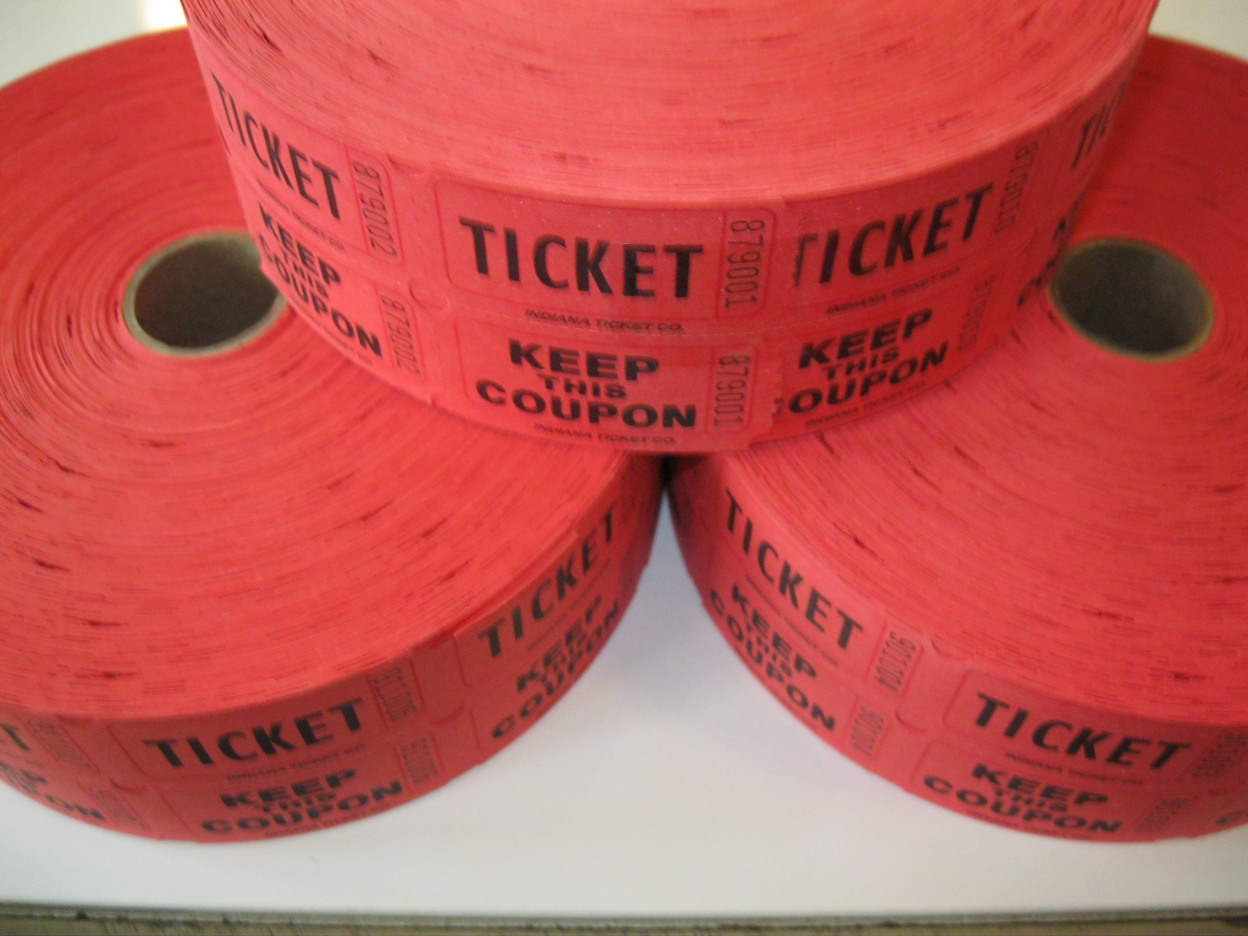 3 Rolls Red 50-50 Raffle Tickets