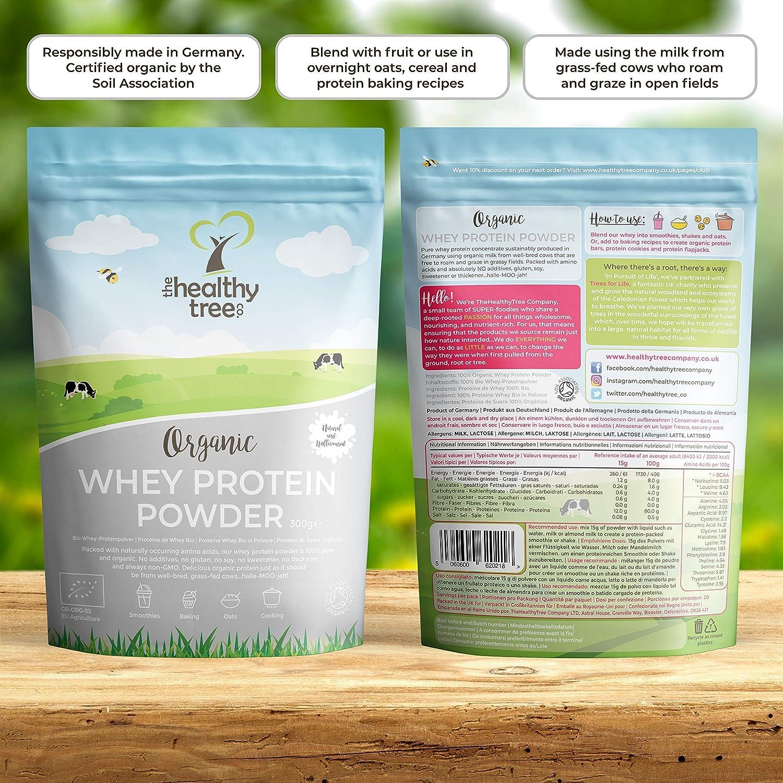 TheHealthyTree Company Proteína de Suero Orgánico en Polvo de 300g (sin sabor) - Alta contenido de aminoácidos y BCAAs - 80% de whey proteína orgánica ...