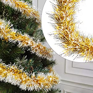 TURNMEON 5 Pack Tinsel Christmas Garland Decoration Total 33 Feet Metallic Streamers Xmas Tree Decor Holiday New Years Eve Xmas Party Supplies Indoor Outdoor Home Decor, Each 6.6Ft by 4Inch (Gold)