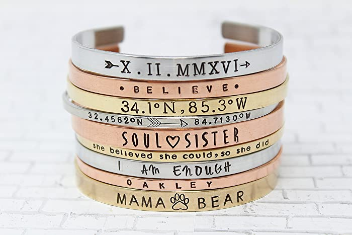 amazon com customizable cuff bracelet personalized metal band