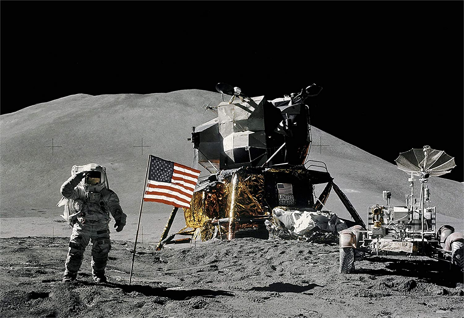 Moon Space Apollo 15 Mission Flag Photo Extra Large Art Poster