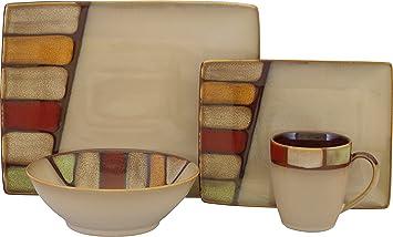 Amazon.com | Sango 16 Piece Elements Dinnerware Set, Brown: Other ...