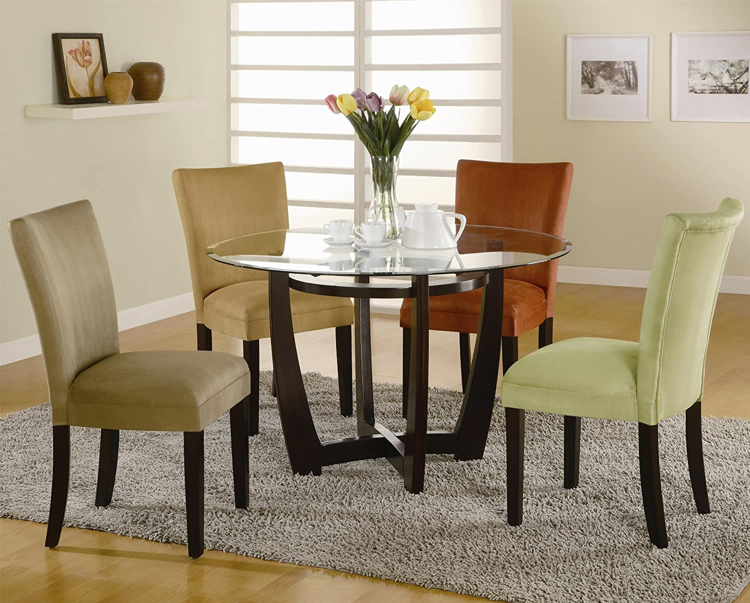 Amazon.com - Round Dining Table with Glass Top Cappuccino Finish ...