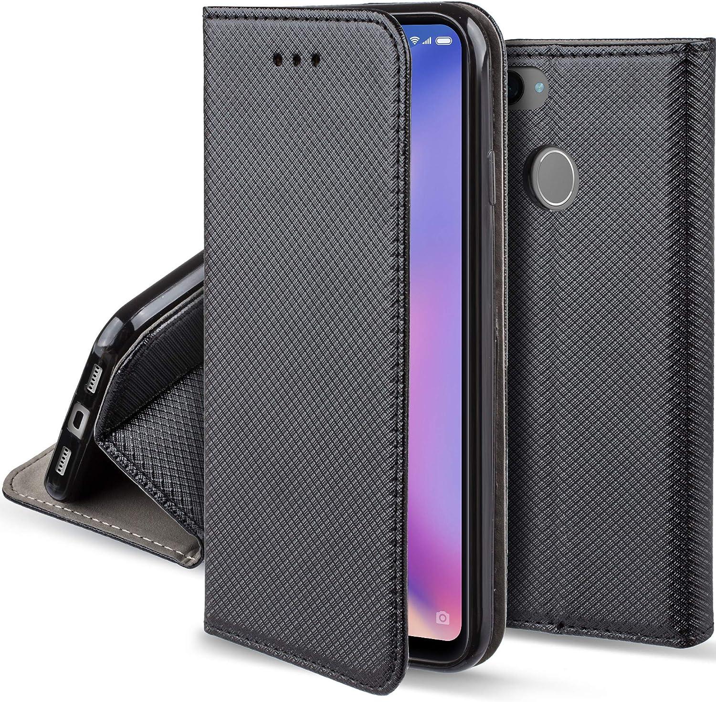 Moozy Funda para Xiaomi Mi 8 Lite, Negra - Flip Cover Smart Magnética con Stand Plegable y Soporte de Silicona