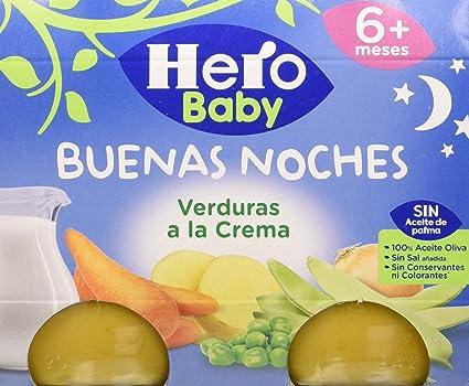 Hero Baby Buenas Noches Verduras a la Crema Tarrito de Puré para Bebés a partir de 6 meses Pack de 3 u de 2 x 190 g: Amazon.es: Alimentación y bebidas
