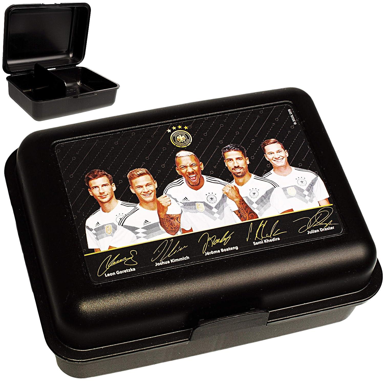 Unbekannt Lunchbox / Brotdose - mit extra Einsatz -  Fuß ball - DFB Nationalmannschaft - Deutscher Fuß ball-Bund  - inkl. Name - BPA frei - herausnehmbaren Fach - Brotb..