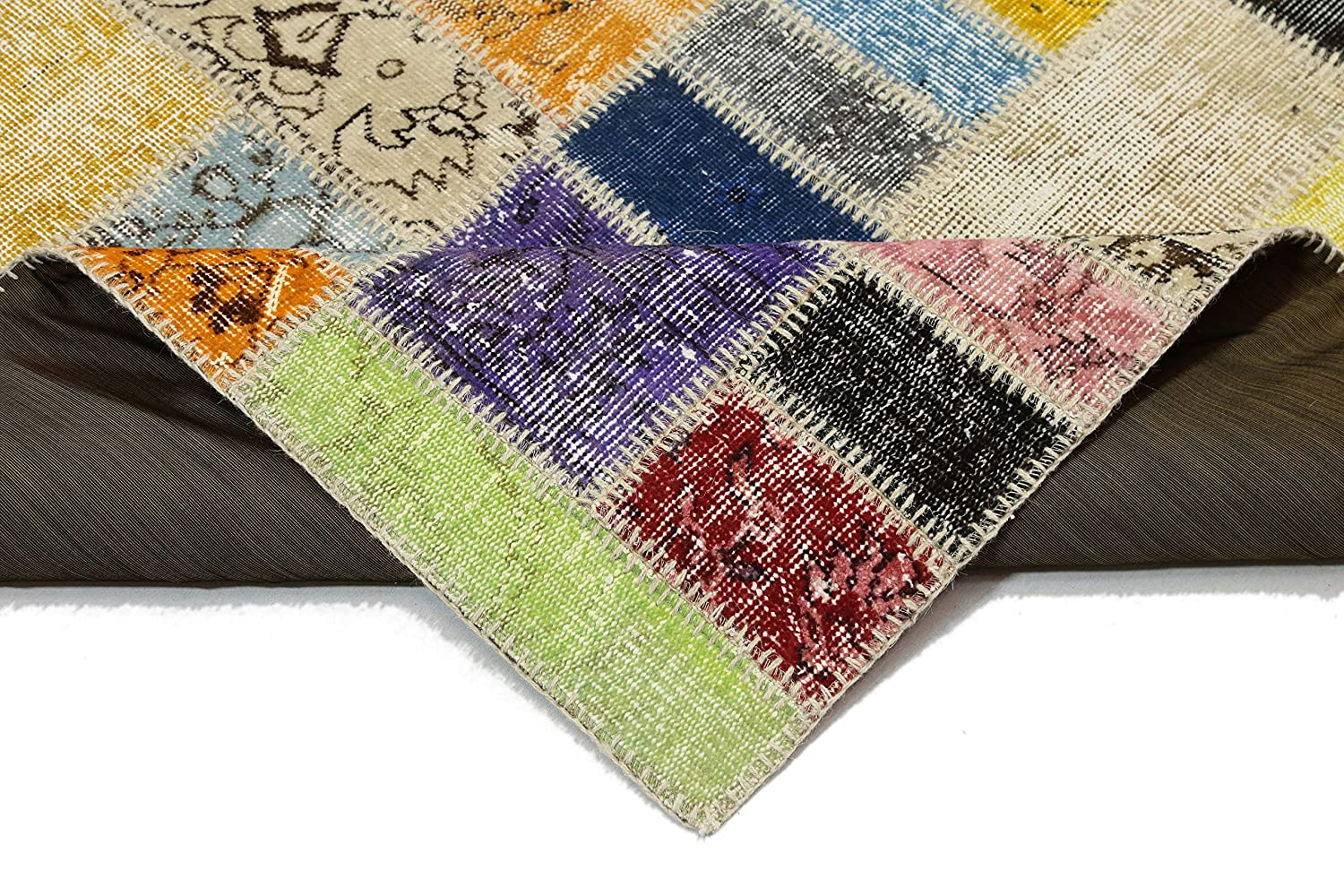 Amazon Com Pozlu Handwoven Premium Patchwork Rug 3 9 X 6 1 Handmade Patch Design Natural Wool Area Rug Checkered Colorful Handmade