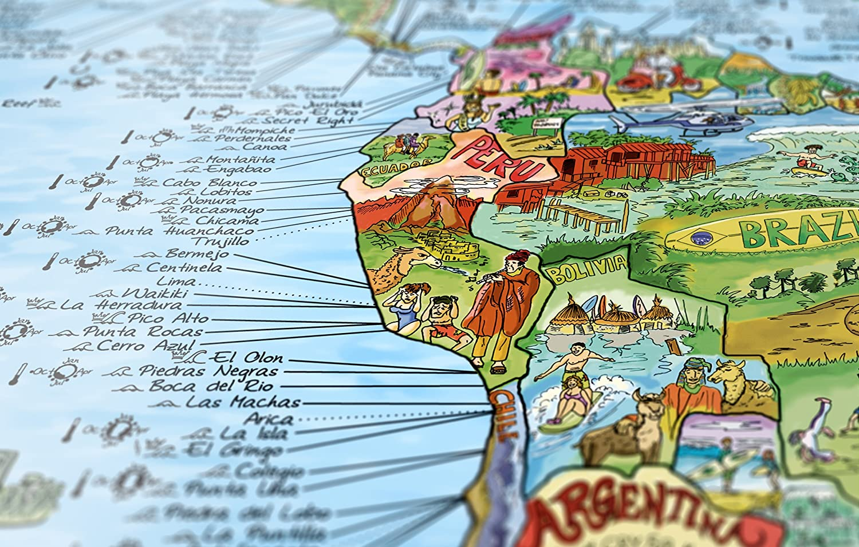 Awesome Maps | SURFTRIP MAP | illustrierte Sport SURF-Weltkarte |  Wiederbeschreibbar | 97,5x56 cm | Englisch