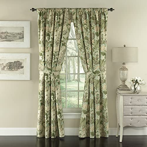 Waverly Garden Glory-Rod Pocket Curtains for Living Room, Double Panel, 84×100, Mist