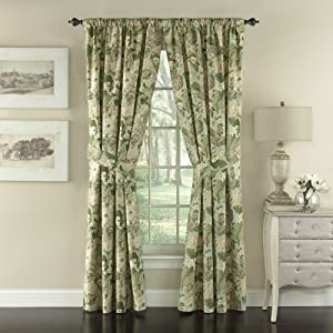 WAVERLY Garden Glory Double Panel Rod Pocket Window Treatment Privacy Curtains for Bedroom, 84x100, Mist
