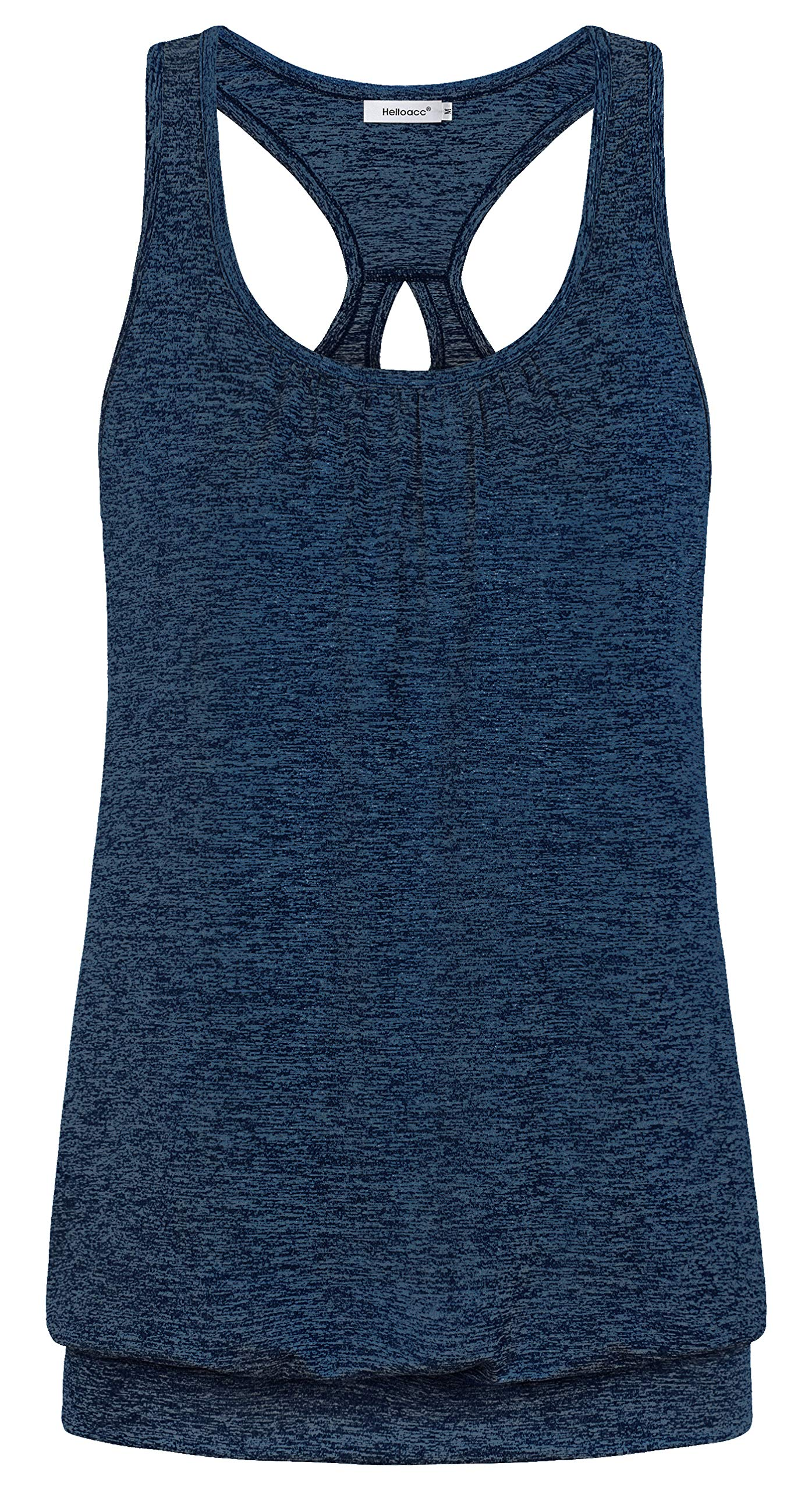 Helloacc Workout Tunics for Women Pilates Shirts Loose Funny Petite Size Modest Clothes Yoga T Shirt Embellished Moisture Wicking Tank Tops for Women Dressy Camisole Fashionable Razor Back Navy Blue M