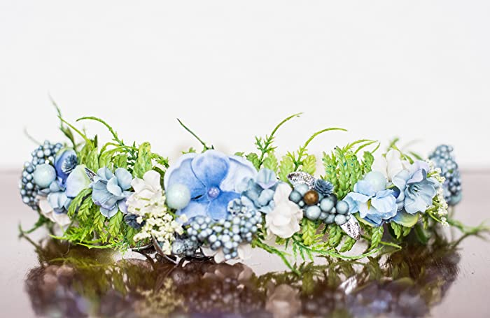 Amazon.com: Baby Blue and White Flower Crown - Photography Prop ...
