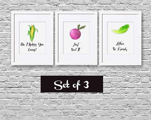 Funny Kitchen Art Corn Beet Lettuce Typography Kitchen Wall Art Home Decor Housewarming