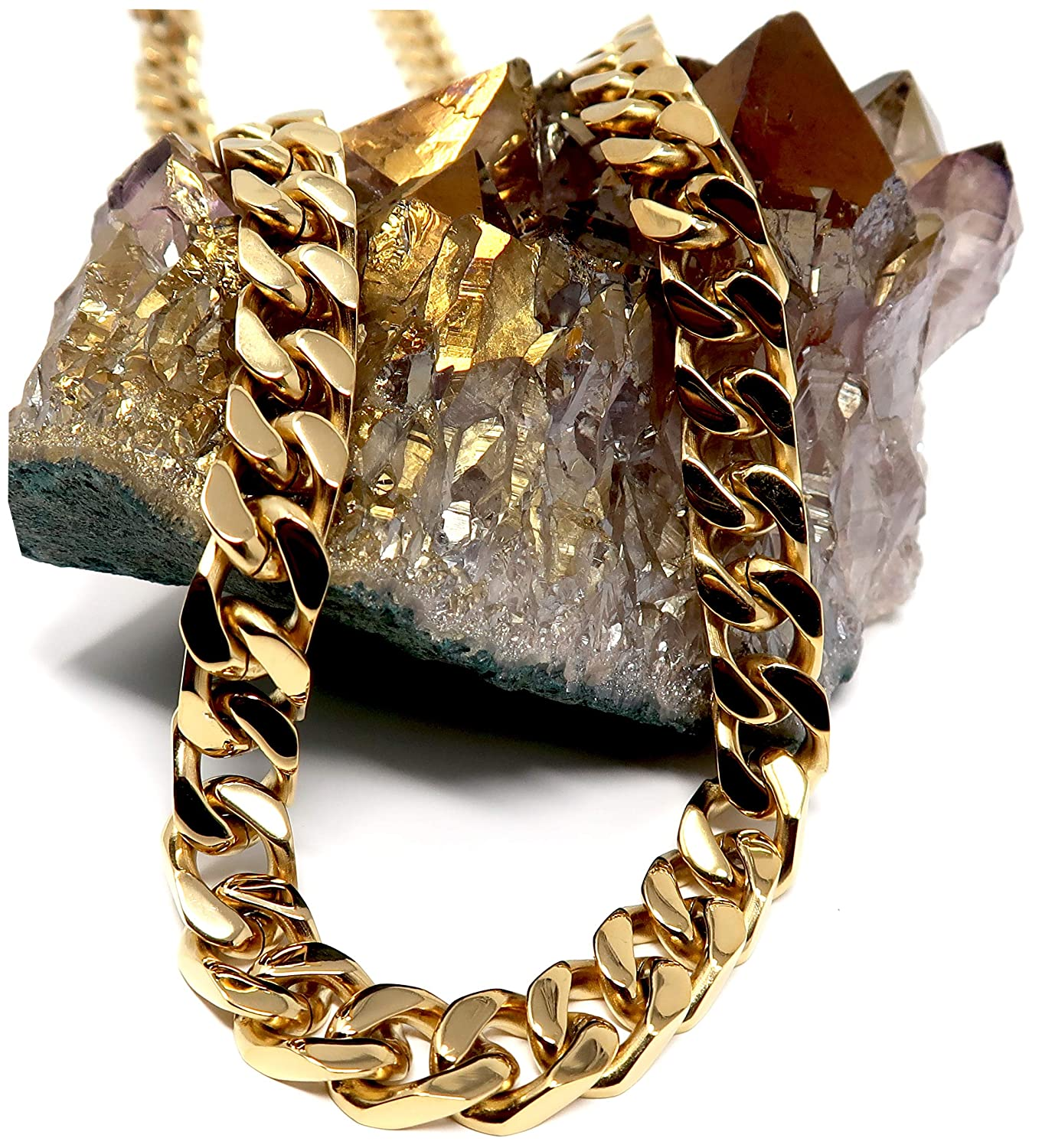 14ct Gold Cuban Link Chain Necklace for Men Real 11MM 14K Karat Diamond Cut Heavy w Solid Thick Clasp US Made