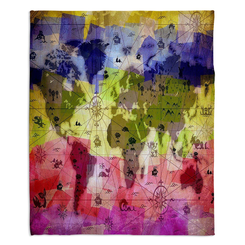 ブランケットウルトラソフトFuzzy 4サイズダイアノウチェデザインズ – Angelina Vick WhimsicalワールドマップVIホーム装飾寝室ソファスローブランケット Large 80