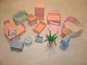 Collection of Vintage Plastic Doll House Furniture-Kitchen, Bedroom and Nursery