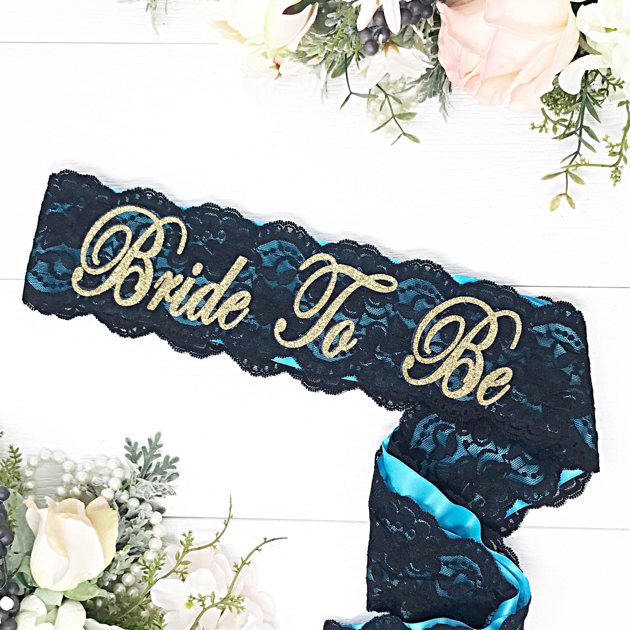 Bachelorette Sash - Satin & Lace - Malibu Blue & Gold