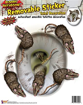 Bloody Rat Toilet Seat Stickers Prop for Halloween Party Decoration ...