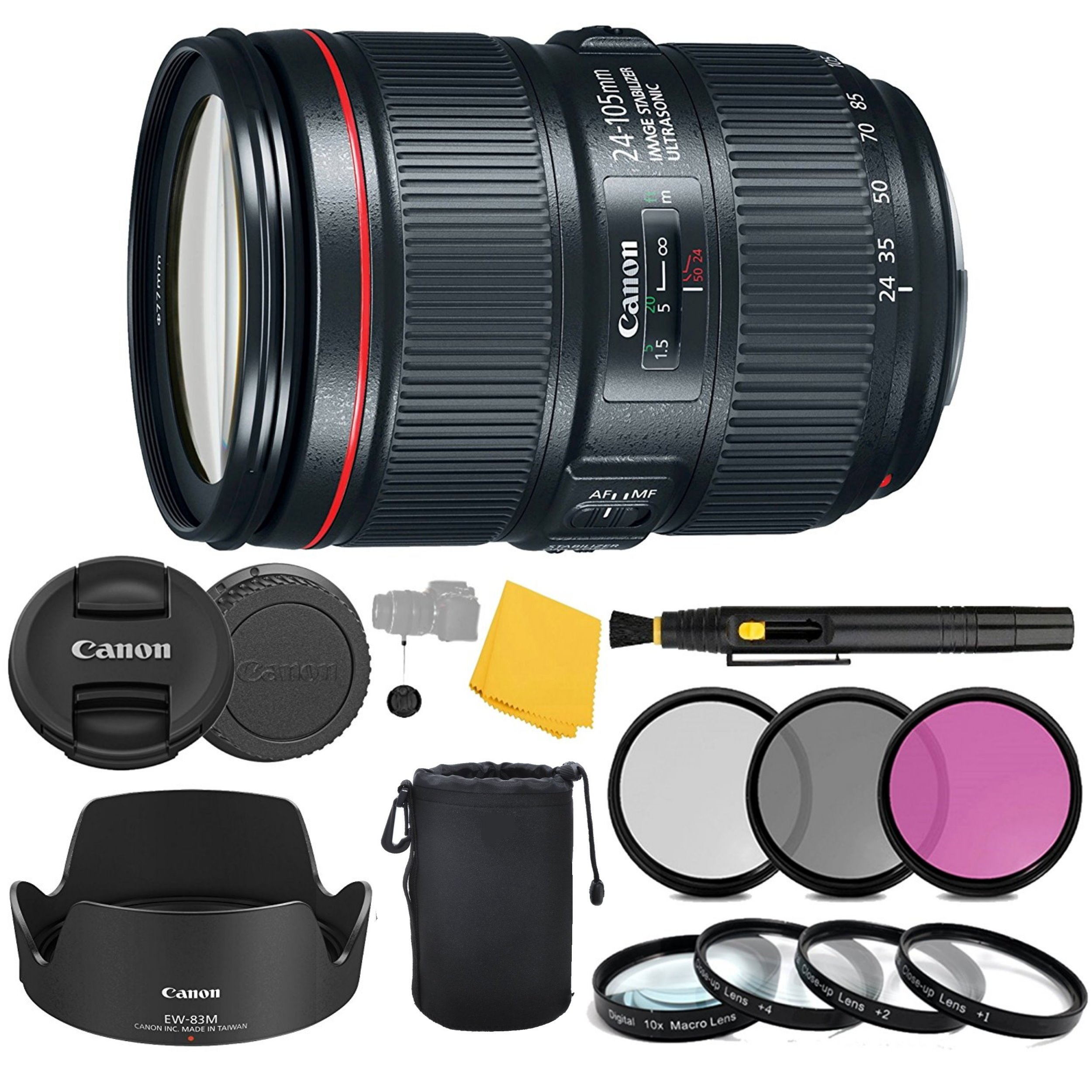 Canon EF 24-105mm f/4L IS II USM Lens + 3 Piece Filter Set + 4 Piece Close Up Macro Filters + Lens Cleaning Pen + Pro Accessory Bundle - 24-105mm II IS: Ultrasonics Motor - International Version by AOM
