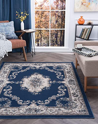 Tayse Jolie Navy 9×13 Rectangle Area Rug for Living, Bedroom, or Dining Room – Traditional, Oriental