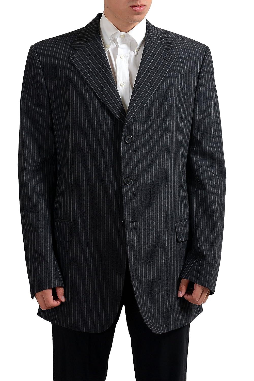 Gianfranco Ferre Wool Gray Striped Three Buttons Mens Blazer US 48 IT 58