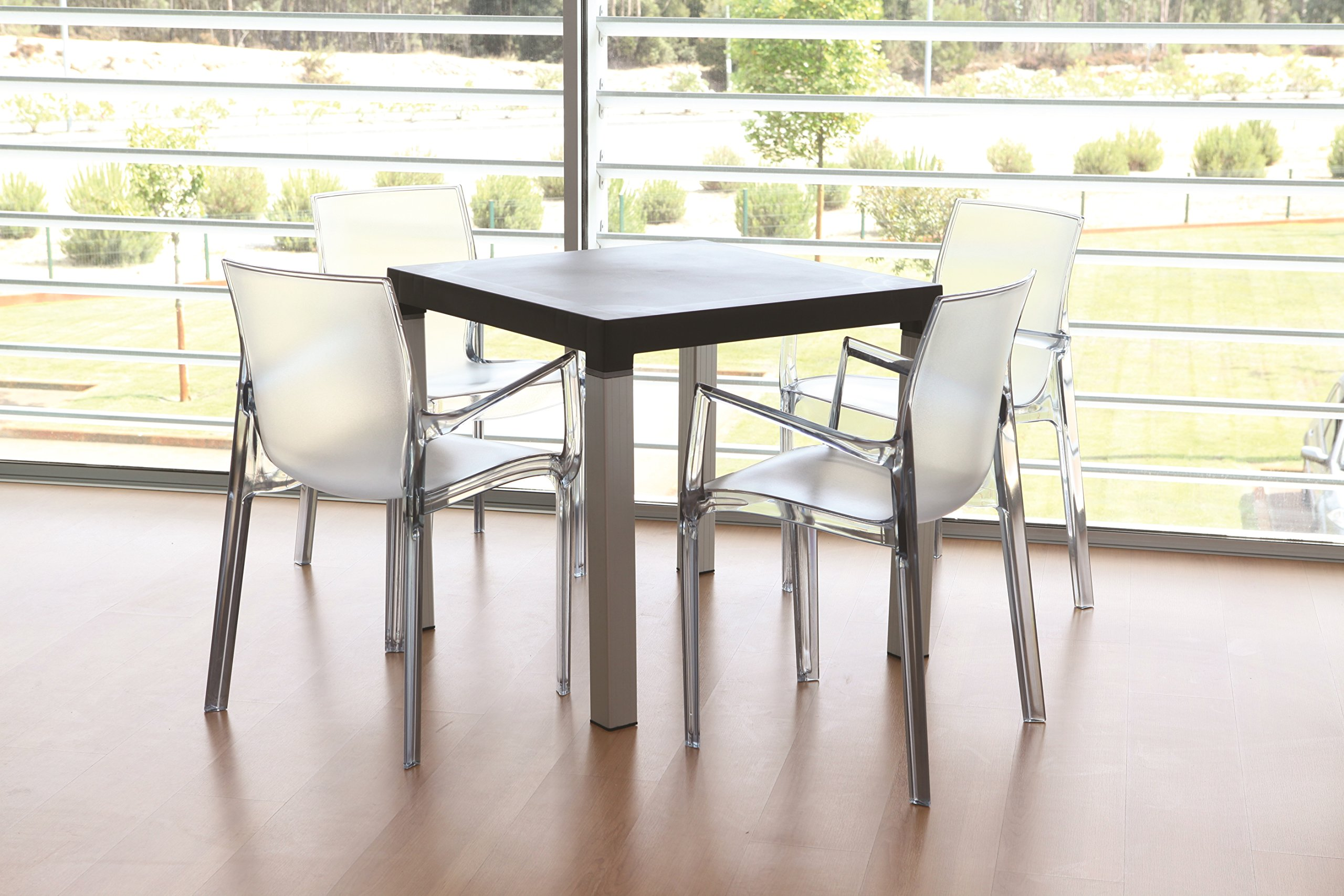 Tensai Iris Collection Narrow Square Back Durable Plastic  Chairs - Transparent - Set of 4 by Tensai