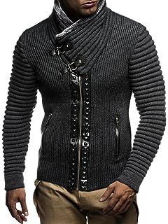 LEIF NELSON Herren Strickjacke Jacke Pullover Hoodie mit Nieten Sweatshirt  Biker-Style Gesteppt LN5165 30a5aab578