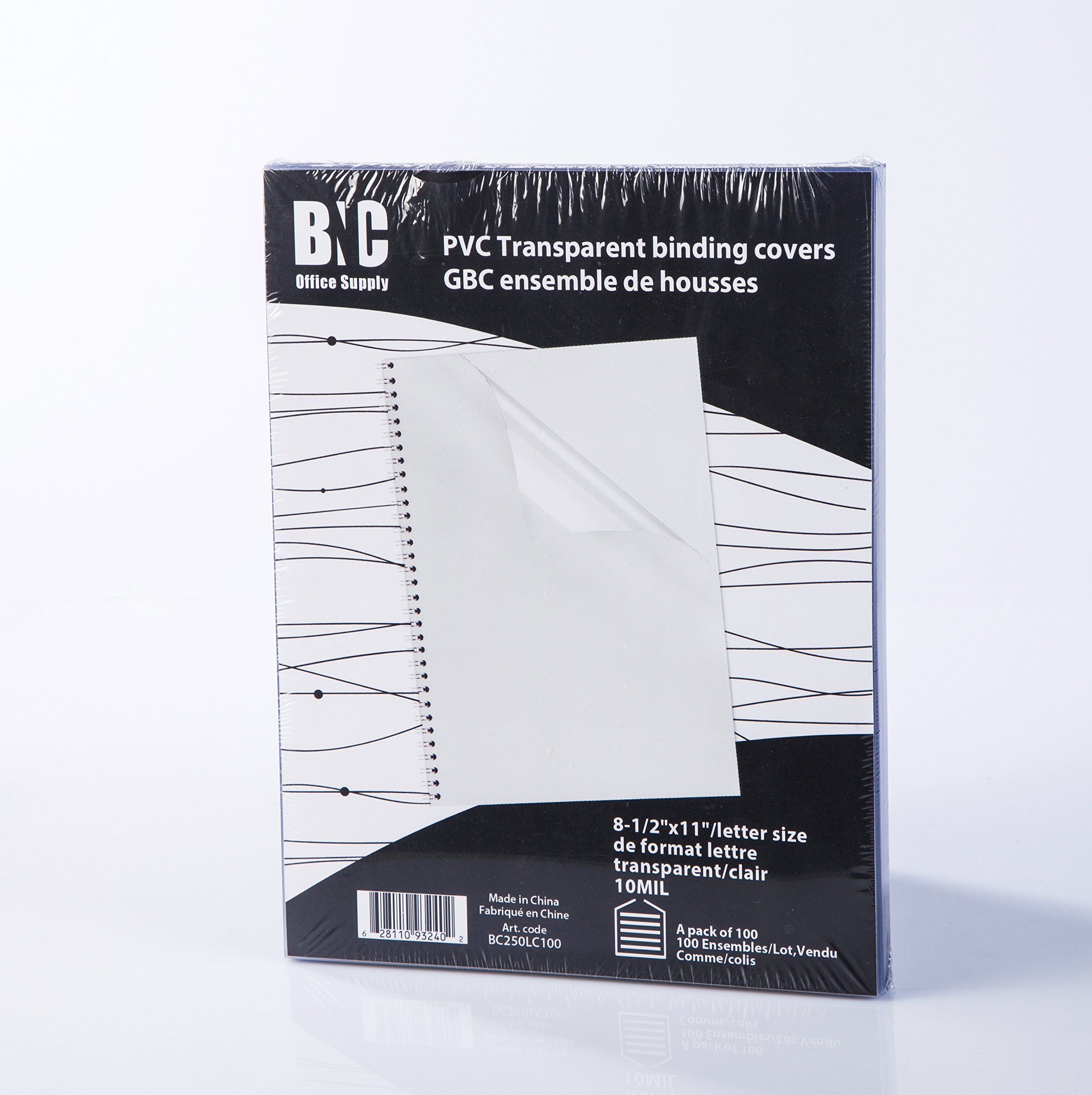 BNC 10 Mil 8-1/2 x 11 Inches, Letter Size PVC Binding Covers - Pack of 100, Clear (BC250LC100)