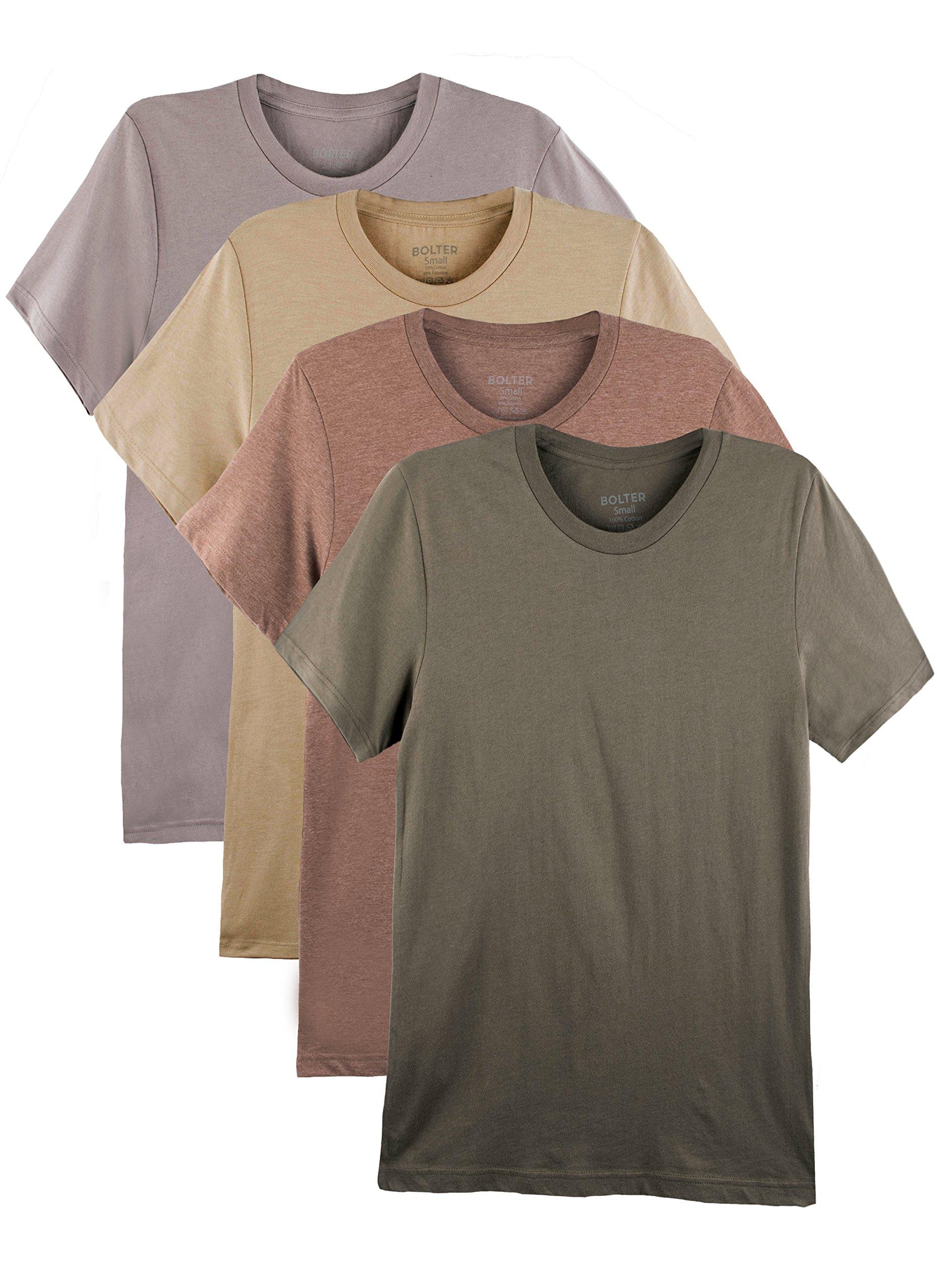 Bolter 4 Pack Men's Everyday Cotton Blend Short Sleeve T-Shirts (Medium, Earth Tones)