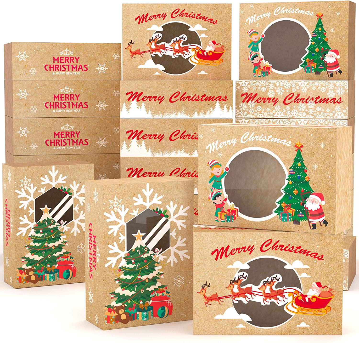KD KIDPAR 24PCS Christmas Cookie Boxes Large for Gift Giving Packaging Holiday Christmas Food, Bakery Treat Boxes with Window, Candy and Cookie Boxes 8.8x6x2.8