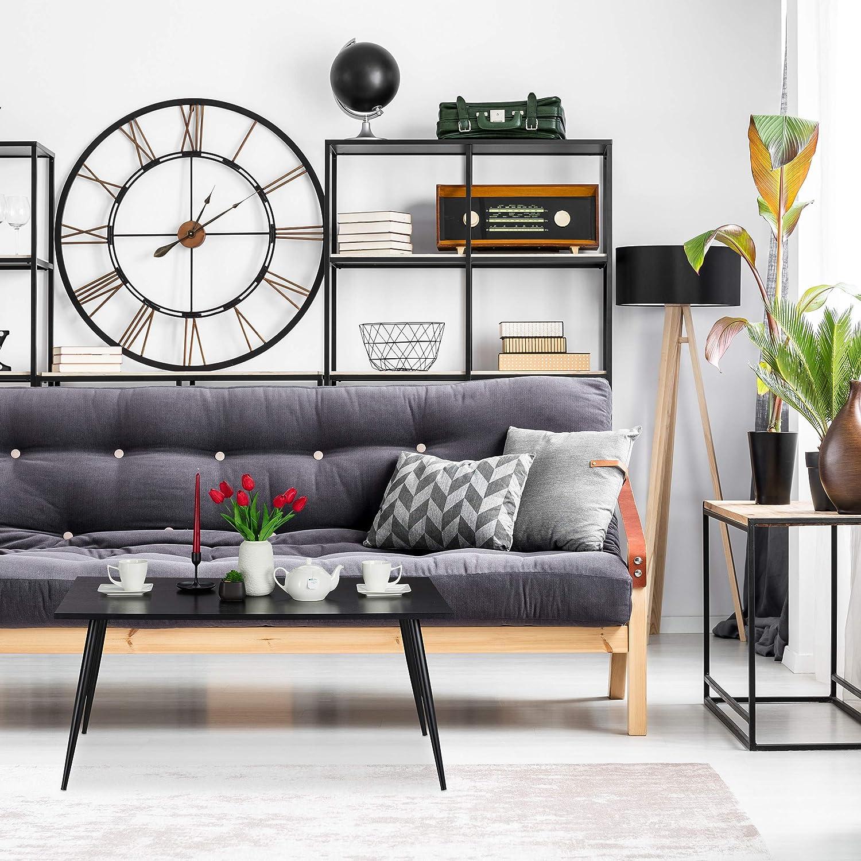 Relaxdays Couchtisch Beistelltisch in 45x100x55 cm Ablage im Wohnzimmer Schlafzimmer Metallbeine schwarz rechteckig
