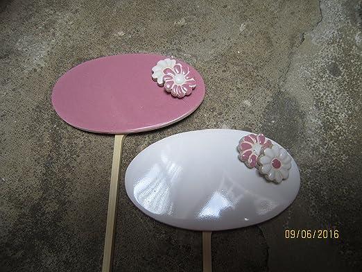 2 piezas Plantas carteles Juego para escribir Blanco Rose cerámica ...